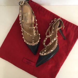 Valentino Shoes - Valentino navy rockstud high heel caged slingback
